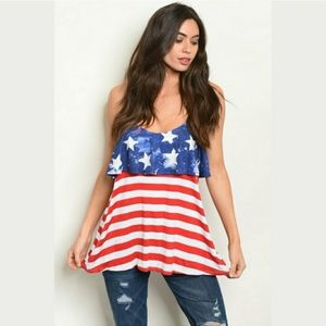 NWT Patriotic Top Red White and Blue